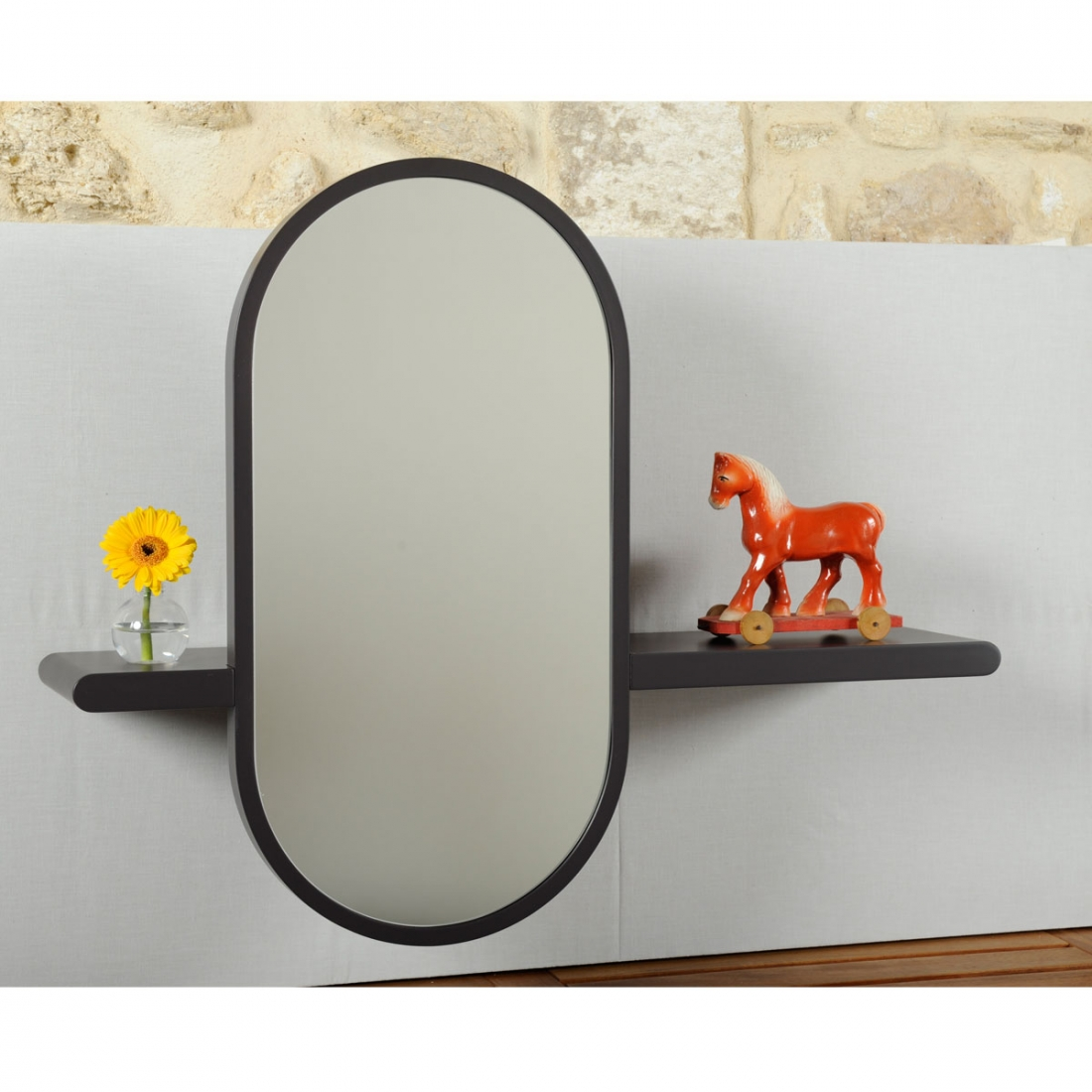 Tablette miroir design mirette vertical oxyo for Miroir vertical mural design