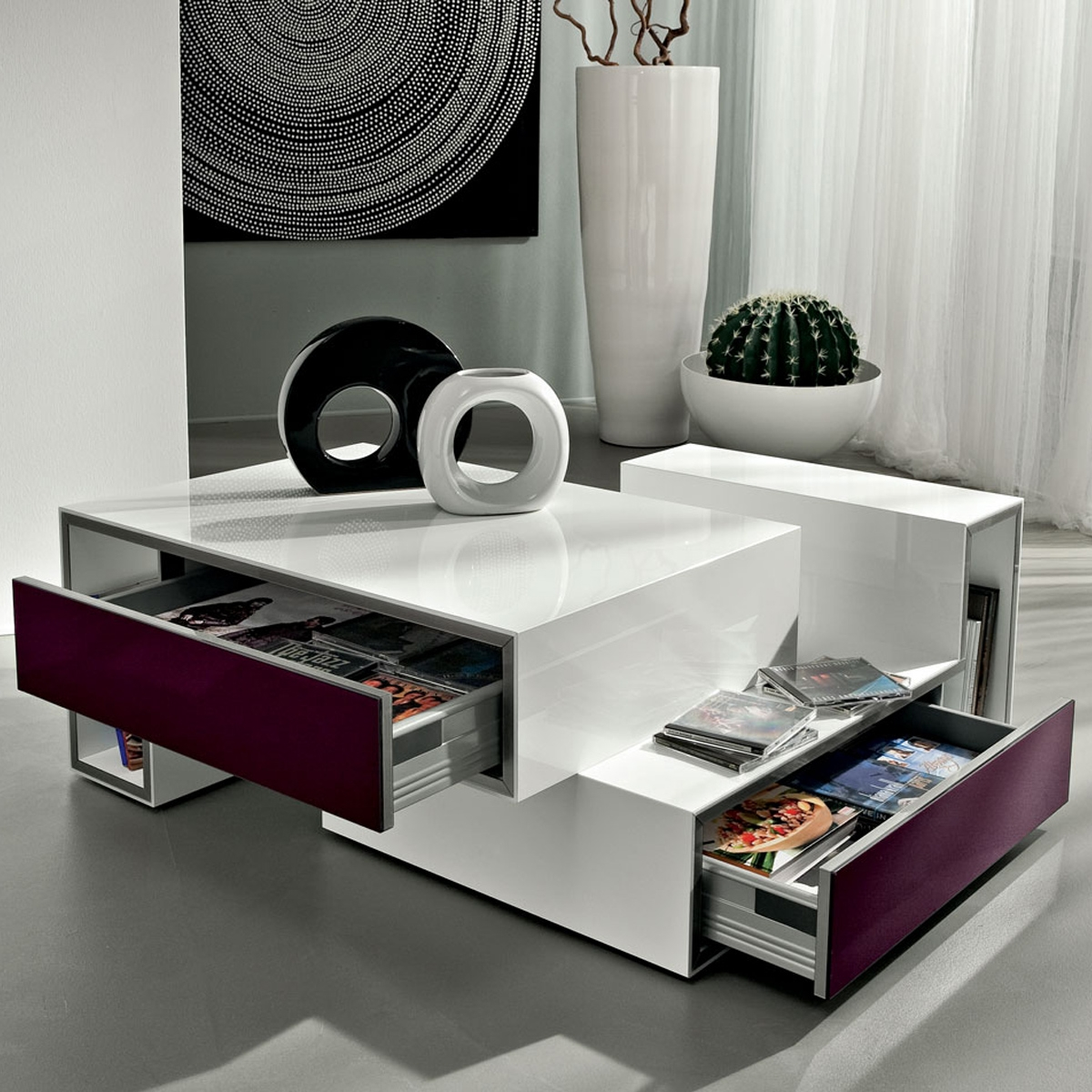 Table basse design avec tiroir marika - Table basse italienne design ...
