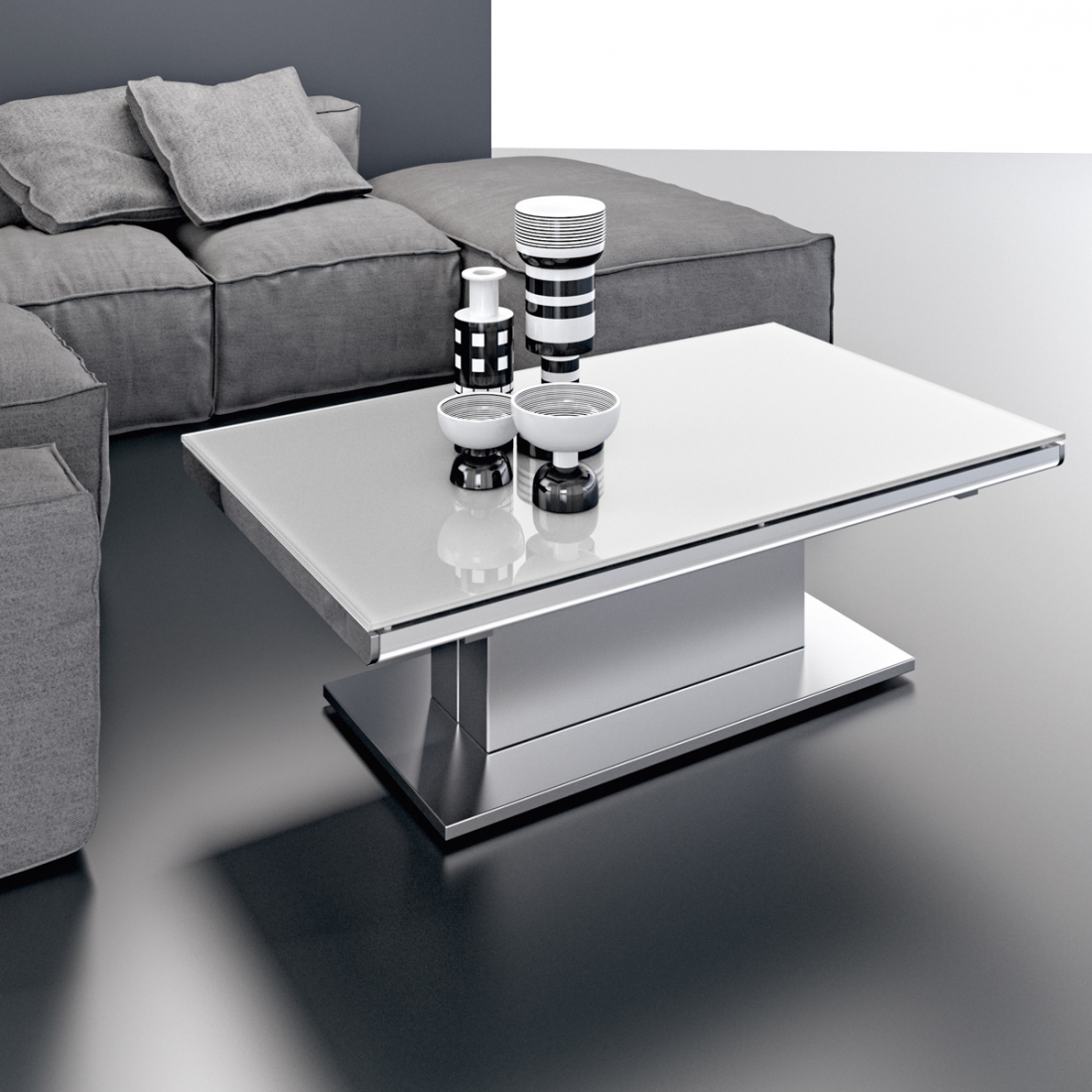 Table basse modulable design ares glass inox - Table basse pied inox ...