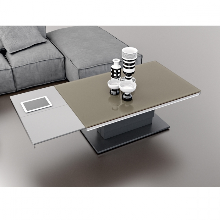Table basse modulable design ARES GLASS Acier