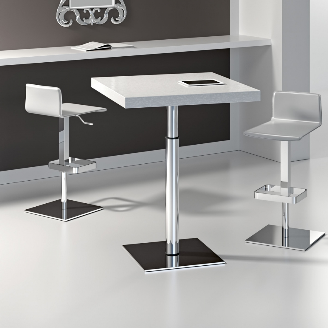 Table basse r glable en hauteur orfeo chrom - Table salon modulable hauteur ...