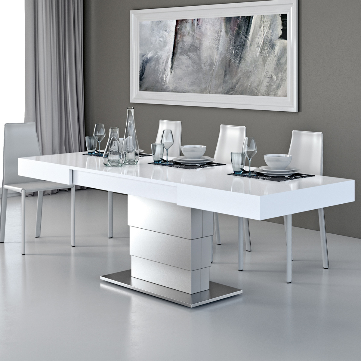 Table basse modulable design ARES FOLD inox 80x110/220cm H. 41/76 par  Zendart Sélection