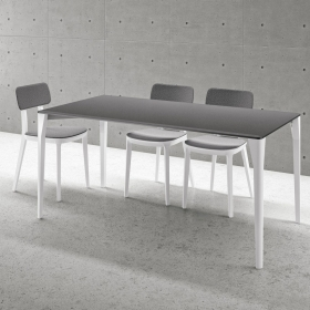 Table design porta venezia slim pieds blanc INFINITI