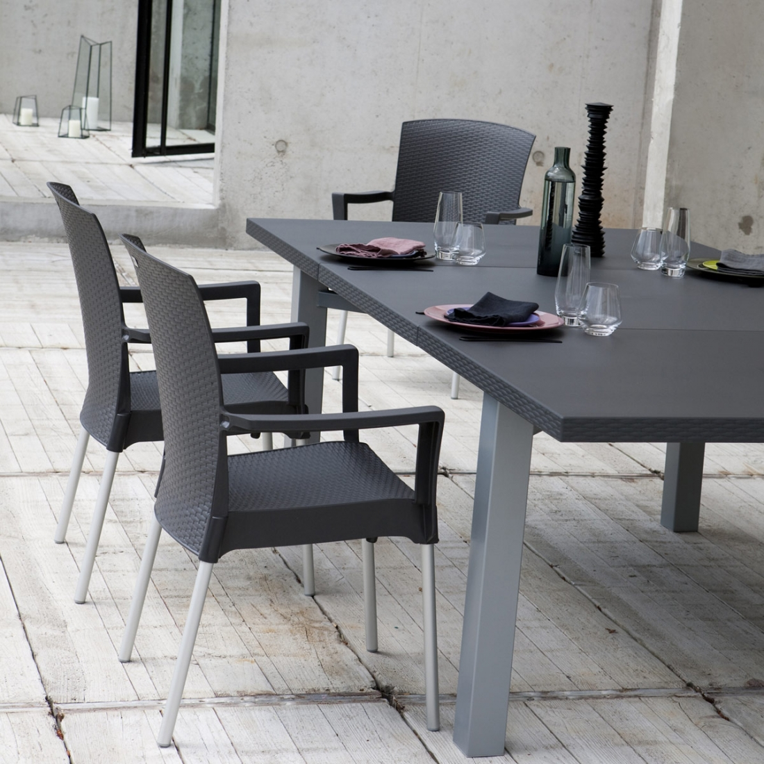 Table ext rieure extensible 100 240x120 ineo design grosfillex - Table exterieure design ...