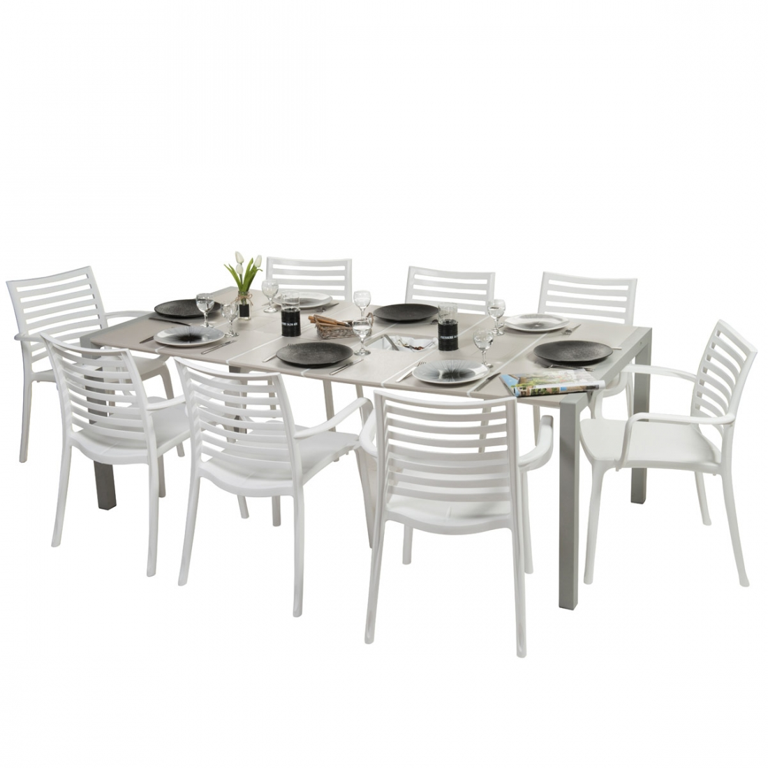 Table Salon De Jardin Babou ~ Table extérieure 190×100 Sunday Lin design GROSFILLEX