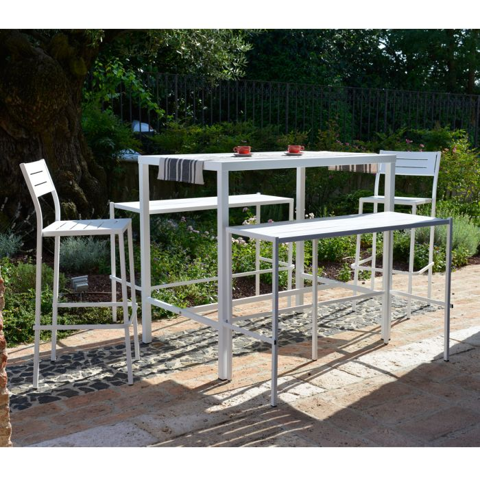 ensemble de jardin table haute banc dorio blanc rd italia loading zoom - Ensemble De Jardin