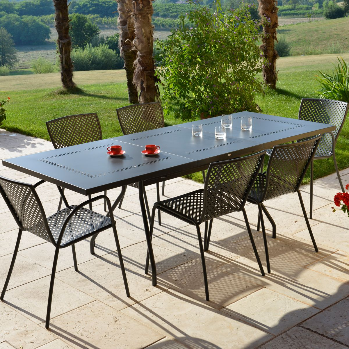 Ensemble de jardin estate l sonia anthracite rd italia - Table de jardin design italien ...