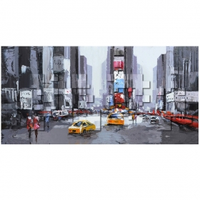 Tableau abstrait de Time Square en impression sur toile 3D LACORNE DECORATION
