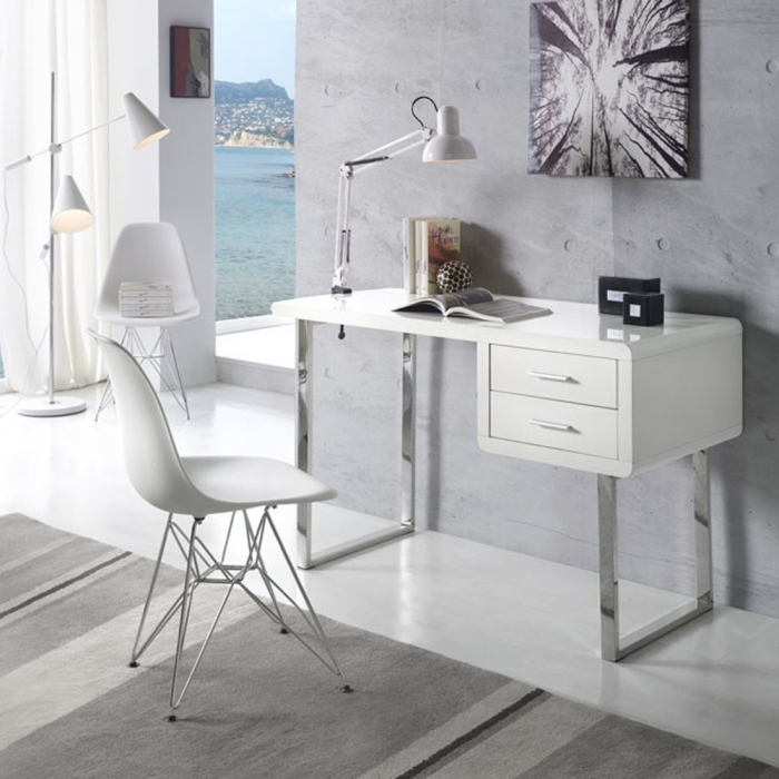 bureau moderne design blanc et chrome maja zendart design. Black Bedroom Furniture Sets. Home Design Ideas