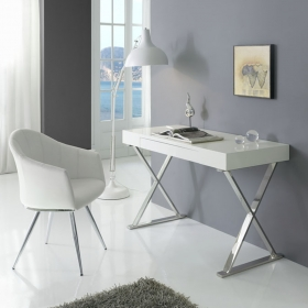 Bureau Contemporain Core - Design Blanc & Chrome - ZENDART SELECTION