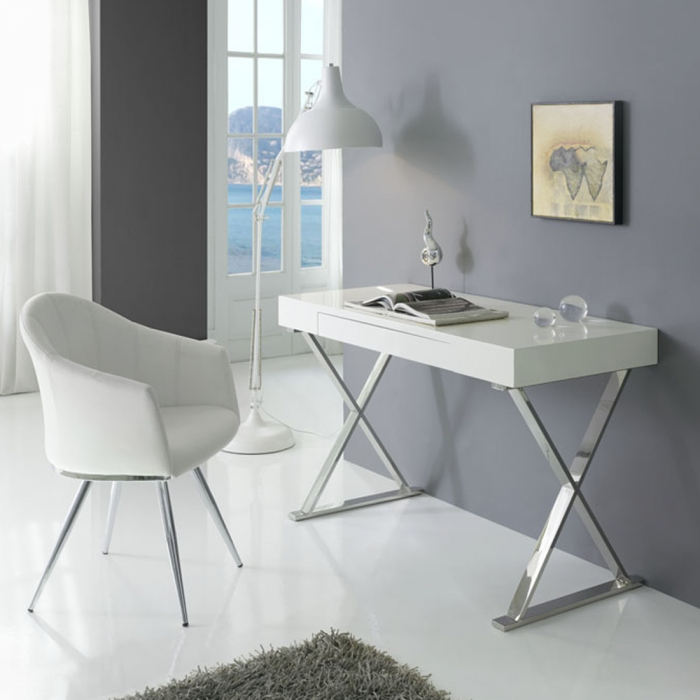 bureau contemporain blanc chrome core zendart design. Black Bedroom Furniture Sets. Home Design Ideas
