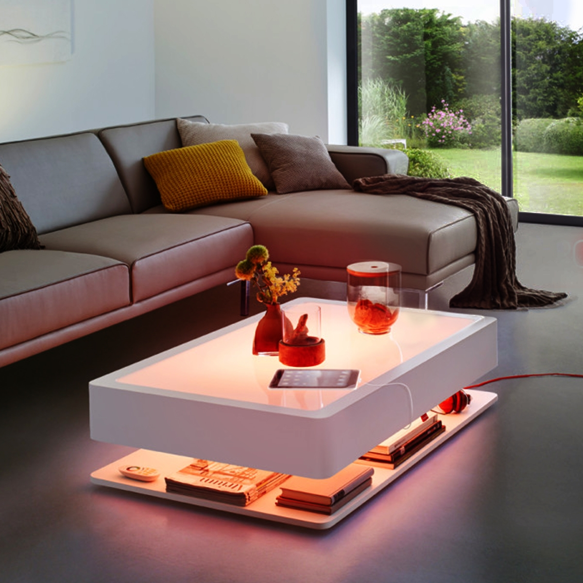 table basse blanche lumineuse led rgb ora home moree. Black Bedroom Furniture Sets. Home Design Ideas