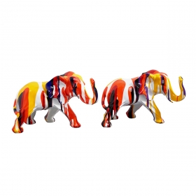 Lot de deux sculptures animaux en résine H.24 cm Elephant multicolore