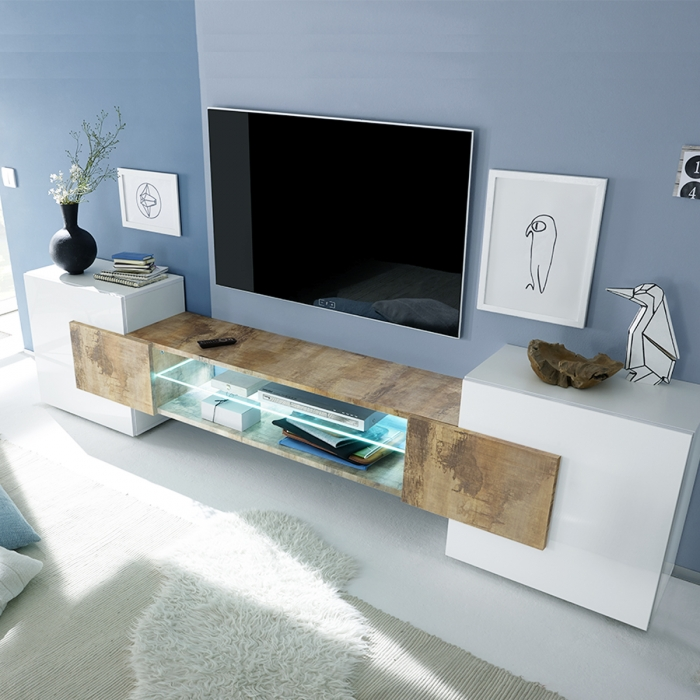 Meuble TV avec 2 plaquards bas Milano by ZENDART SELECTION