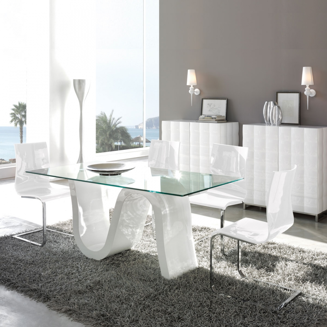 table de salle a manger en verre ondulo zendart design. Black Bedroom Furniture Sets. Home Design Ideas
