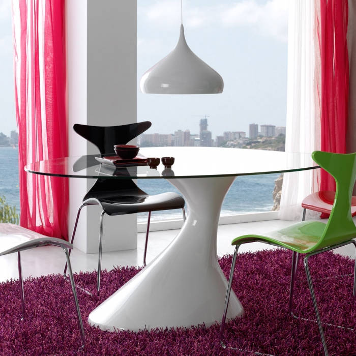 table salle a manger en verre univi zendart design. Black Bedroom Furniture Sets. Home Design Ideas