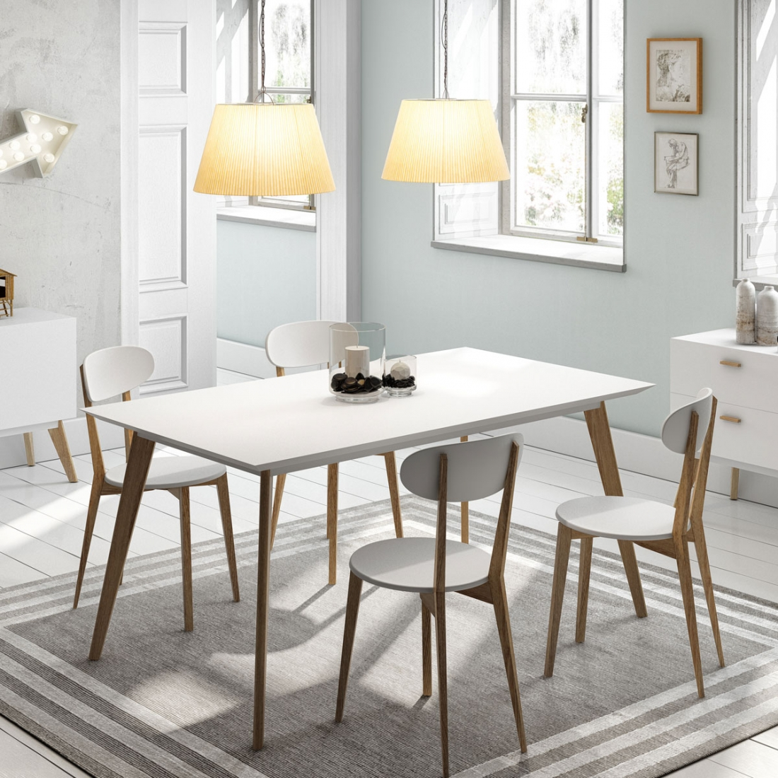Table design collection compas for Mobilier salle a diner