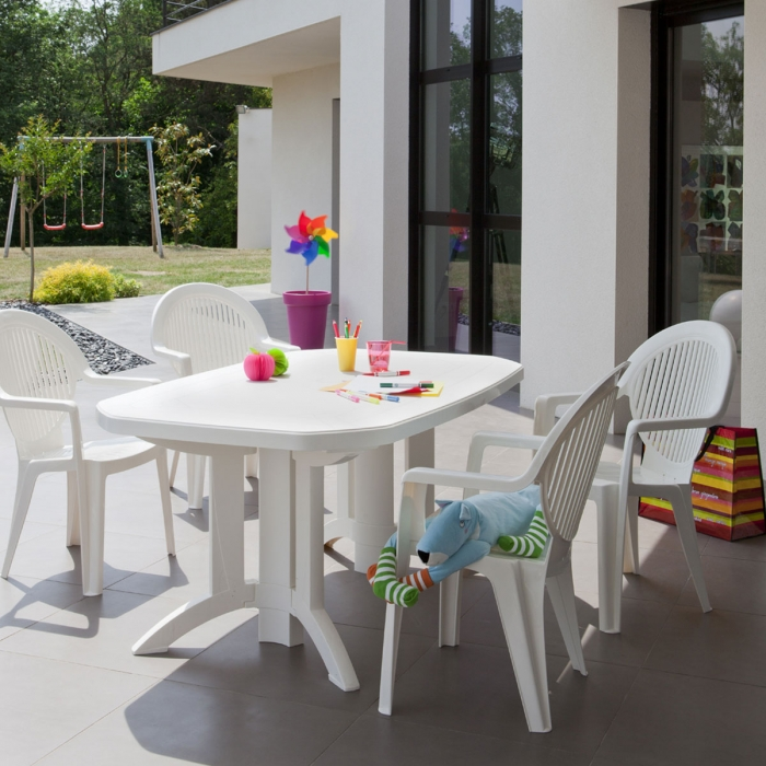 Table de jardin vega 165x100 grosfillex - Table jardin grofilex besancon ...
