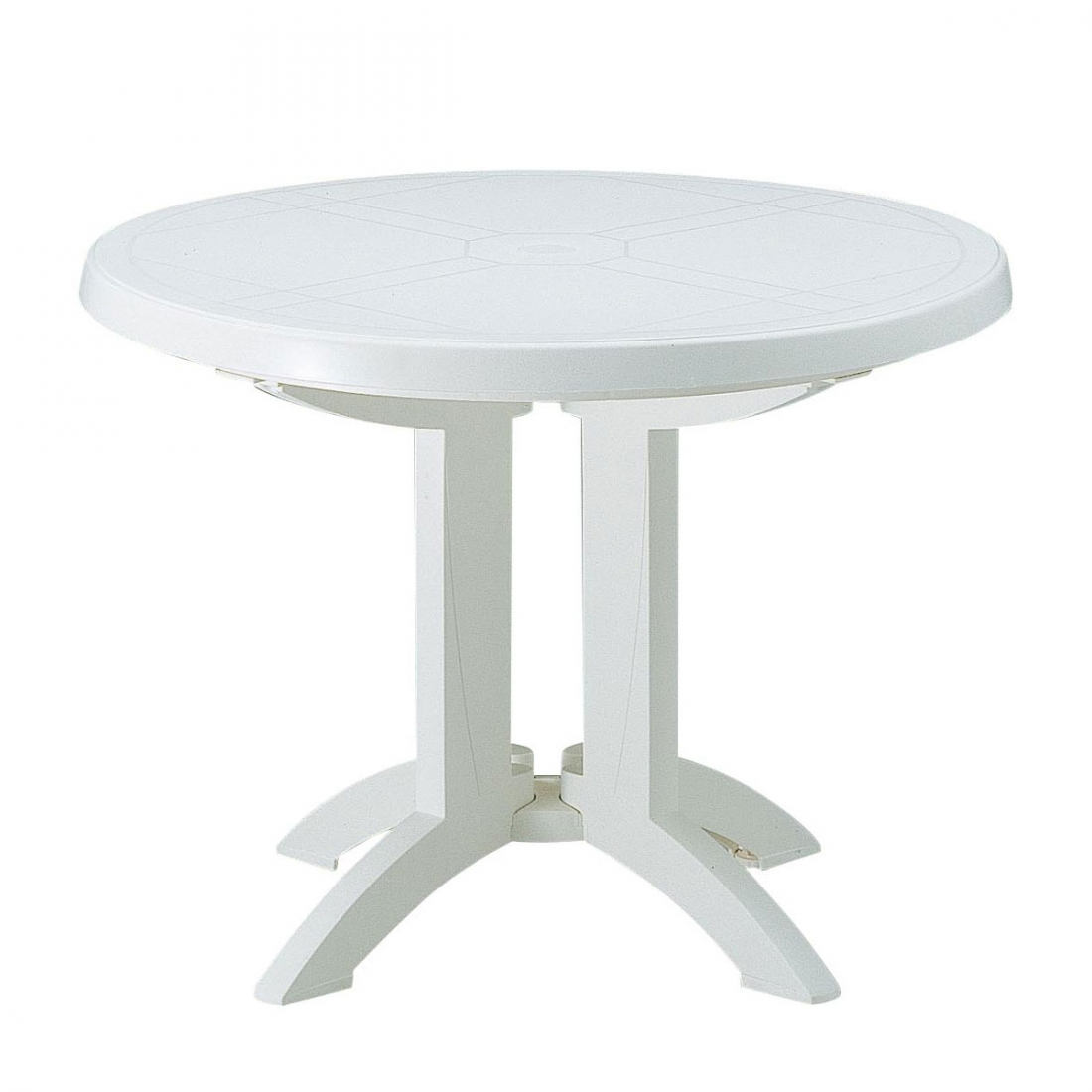 Awesome table jardin ronde blanche plastique images for Table jardin ronde