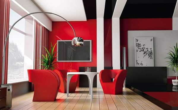 Guide d co le design rouge pour une d co intense blog zendart design - Deco salon rouge et blanc ...