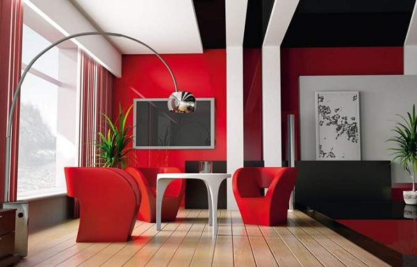 Guide d co le design rouge pour une d co intense blog - Deco salon gris rouge ...