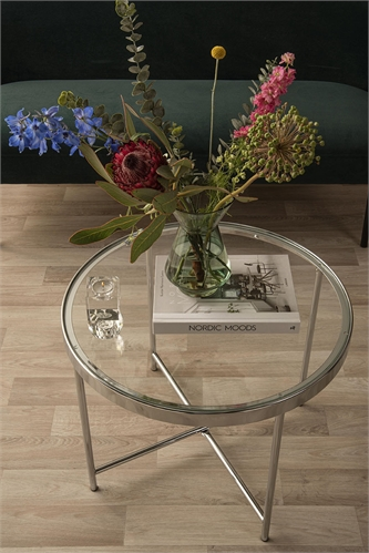 Coffee table Smooth chrome, clear glass top D. 60cm, H. 46cm, Tempered glass
